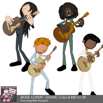 Music Clipart - Guitar Playing Kids In Band - Color & Black & White Clip Art