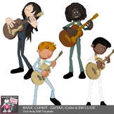 Music Clipart - Guitar Playing Kids In Band - Color & Blac