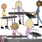 Music Clipart - Keyboard Playing Kids In Band - Color & Black & White Clip Art