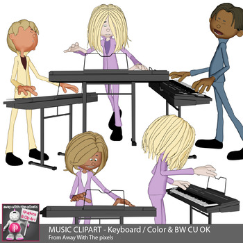 music clipart keyboard playing kids in band color black rh teacherspayteachers com Art and Music Clip Art Music Therapy Clip Art