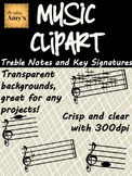 Music Clip Art: Treble Notes and Key Signatures