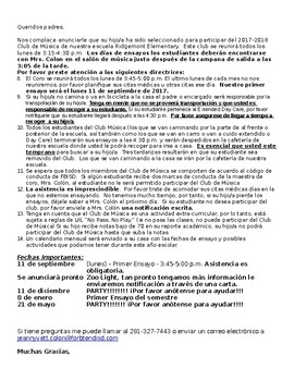 Music Club Letter Invitation ENGLISH & SPANISH