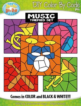 Music Color By Code Clipart {Zip-A-Dee-Doo-Dah Designs}