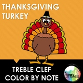 Music Color By Note: Treble Clef Thanksgiving Turkey