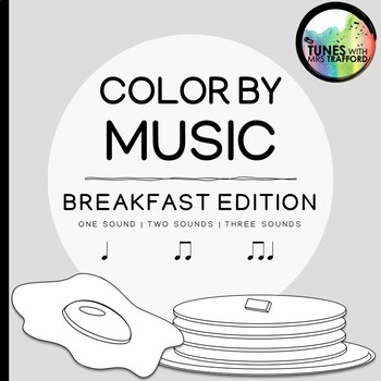 Music Color By Sounds: Breakfast Food (one sound, two sounds, three sounds)