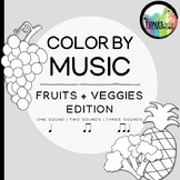 Music Color By Sounds: Fruits & Vegetables (one sound, two