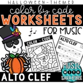 Music Color by Code - Alto Clef {Halloween Theme}