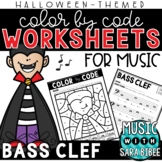 Music Color by Code - Bass Clef {Halloween Theme}