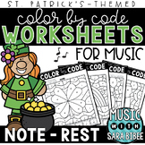 Music Color by Code - Notes/Rests {St. Patrick's Day Theme}