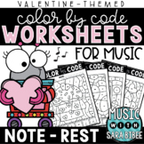 Music Color by Code - Notes/Rests {Valentine Theme}