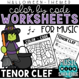 Music Color by Code - Tenor Clef {Halloween Theme}