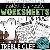 Music Color by Code - Treble Clef {Halloween Theme}