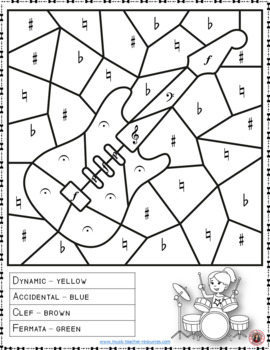 Music Color by Music Symbols Coloring Page: Free Music Activity