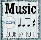 Music Color by Note: Quarter Note, Eighth Note, Quarter Rest