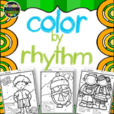 Music Notes - Color  by Rhythm - Ta, Titi, Rest, Ta-a