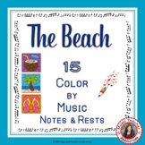 Music Coloring Pages: 15 BEACH Themed Music Coloring Sheets