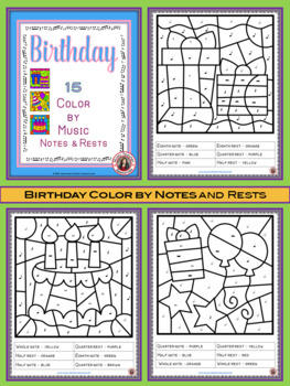 Music Coloring Pages: 15 BIRTHDAY Themed Music Coloring Sheets