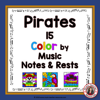Music Coloring Pages: 15 PIRATE Themed Music Coloring Sheets ...