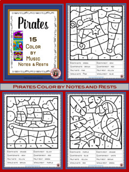Music Coloring Pages: 15 PIRATE Themed Music Coloring Sheets