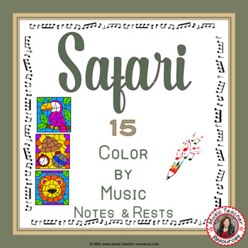 Music Coloring Pages: 15 SAFARI Themed Music Coloring Sheets