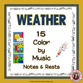 Music Coloring Pages: 15 WEATHER themed Music Coloring Sheets