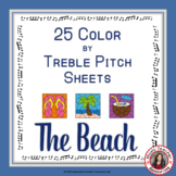 Music Coloring Pages: 25 Color by Treble Pitch: Beach Themed