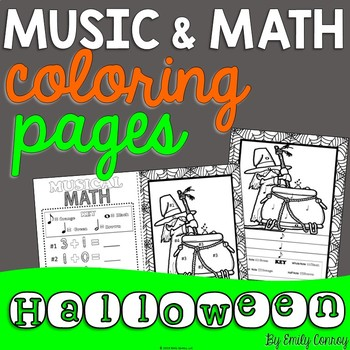 Music Coloring Pages (16 Halloween Music Coloring Sheets) by Emily ...