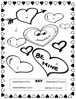 Music Coloring Pages (Valentine\'s Day) by Emily Conroy | TpT
