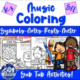 Music COLOR by NOTES Activities Rests Symbols K-5 Workshee