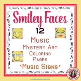 Music Coloring Sheets: 12 Smiley Faces Music Coloring Pages: Music Signs