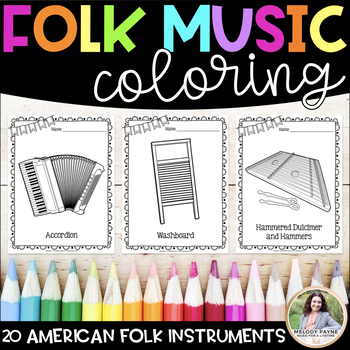 Music Coloring Sheets {20 Folk Instruments}