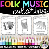 Music Coloring Sheets {20 American Folk Music Instruments}