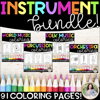 Musical Instruments Coloring Sheets BUNDLE {91 Coloring Pages!}
