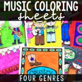 Music Coloring Sheets Bundled (Music Genres Review)