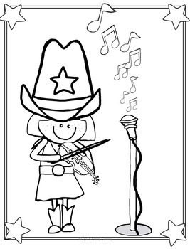 Music Coloring Sheets-Country Theme