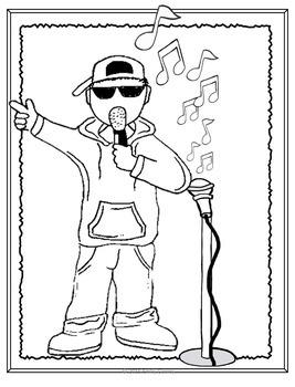 Music Coloring Sheets-Hip-Hop/Rap Theme