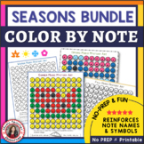 Music Coloring Sheets: Seasons Music Coloring Pages Bundle: Music Mystery Art