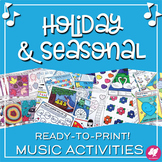 Music Worksheets Bundle: Holidays for the Whole School Year!