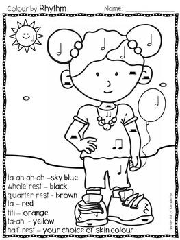 Music Notes - Colour by Rhythm - Ta, Titi, Rest, Ta-ah