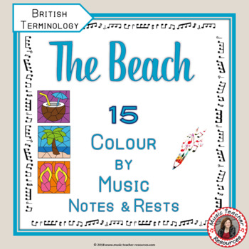 Music Colouring Pages: 15 BEACH Themed Music Colouring Sheets | TpT