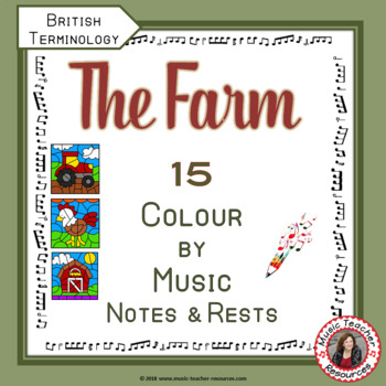 Music Colouring Pages: 15 FARM Themed Music Colouring Sheets