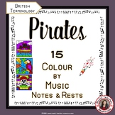 Music Colouring Pages: 15 PIRATE Themed Music Colouring Sheets