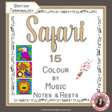 Music Colouring Pages: 15 SAFARI Themed Music Colouring Sheets