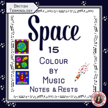 Music Colouring Pages: 15 SPACE Themed Music Colouring Sheets