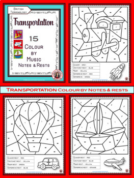 Music Colouring Pages: 15 TRANSPORTATION Themed Music Colouring Sheets