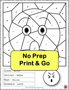 Music Colouring Sheets: 26 Smiley Faces Music Colouring Pages