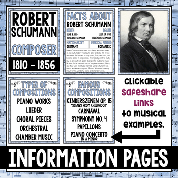 Music Composer for the Month: Robert Schumann Bulletin Board Pack