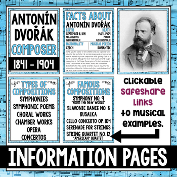 FREE! Music Composer of the Month: Antonín Dvořák Bulletin Board Pack