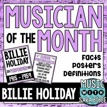 Music Composer of the Month: Billie Holiday Bulletin Board Pack