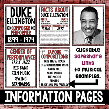 Musician of the Month: Duke Ellington Bulletin Board Pack